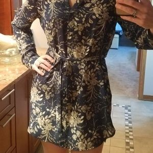 NWT Navy flowered, belted tunic